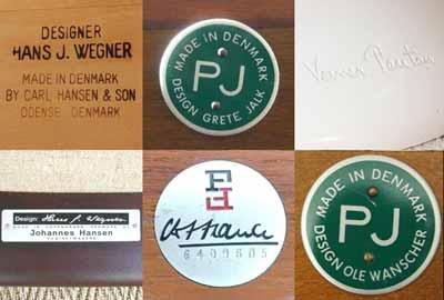 Exemples de marques d'authenticité de designers scandinaves